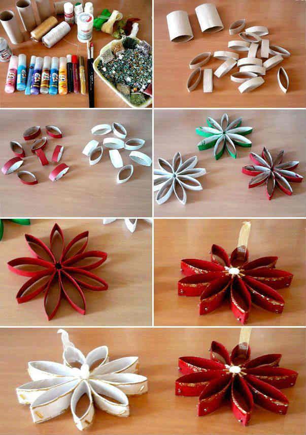 Estrellas-navidenas-hechas-con-rollos-de-papel